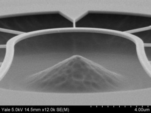 1.0 micron silicon dioxide film etched with Buffer HF Improved for 30 minutes at 25 oC. Courtesy of Yale University